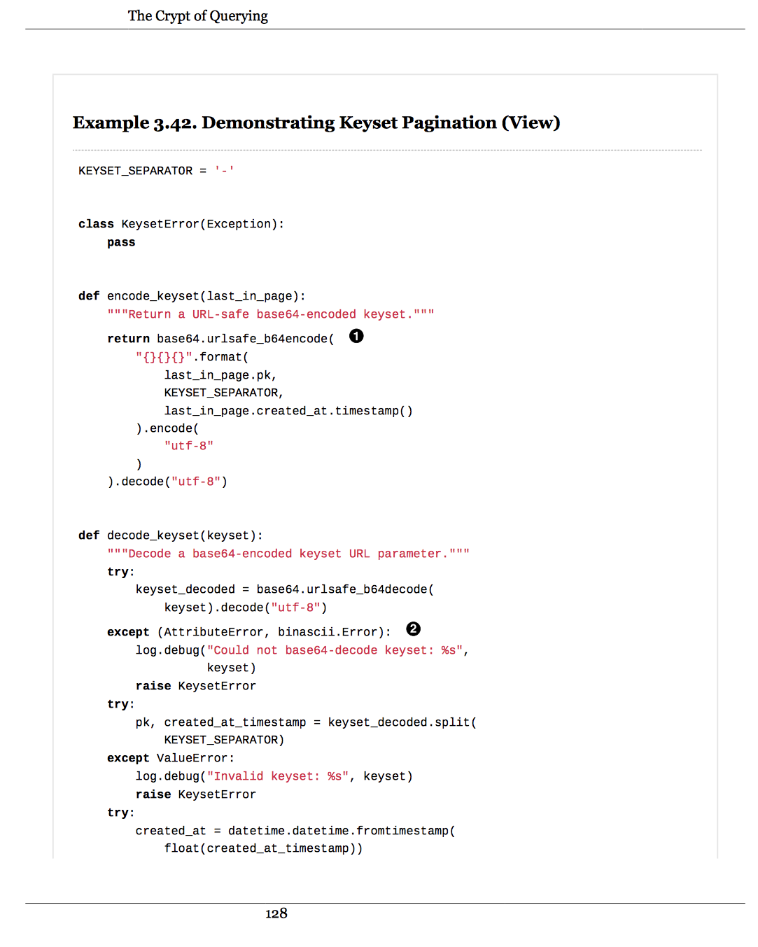 A sample of code from the book